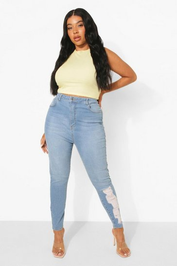 Mid blue blue Plus High Waist Laddered Leg Skinny Jeans