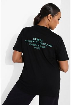 Black Plus St Ives Back Print T-shirt