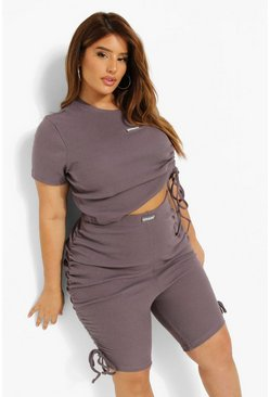 Charcoal grey  Plus Premium Rib Ruched Crop Top