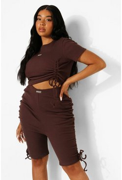 Chocolate brown  Plus Premium Rib Ruched Crop Top