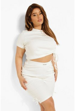 Cream white  Plus Premium Rib Ruched Crop Top