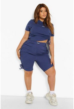 Navy  Plus Premium Rib Ruched Crop Top