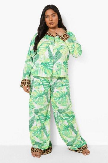 Green Plus Leaf Print Satin Trouser Set