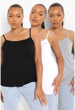 Black Plus 3 Pack Cami Tops