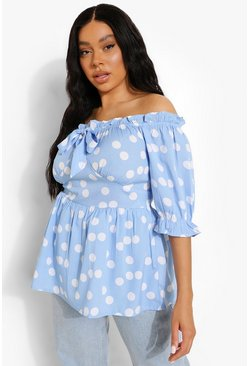 Blue Plus Polka Dot Off The Shoulder Tie  Top