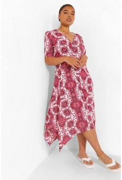 Plus Paisley Puff Sleeve Midi Dress, Dark pink rosa