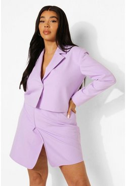 Plus Premium Tailored Crop Wrap Blazer, Lilac morado