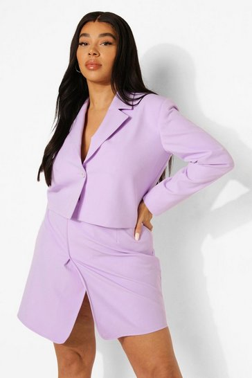 Lilac purple Plus Premium Tailored Crop Wrap Blazer