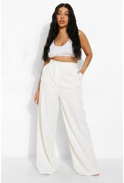 Plus Premium Tailored Wide Leg Trousers, Ecru blanco