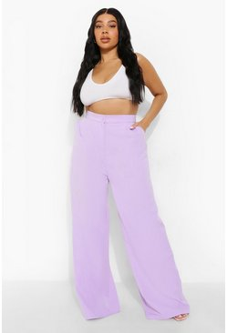 Lilac purple Plus Premium Tailored Wide Leg Trousers