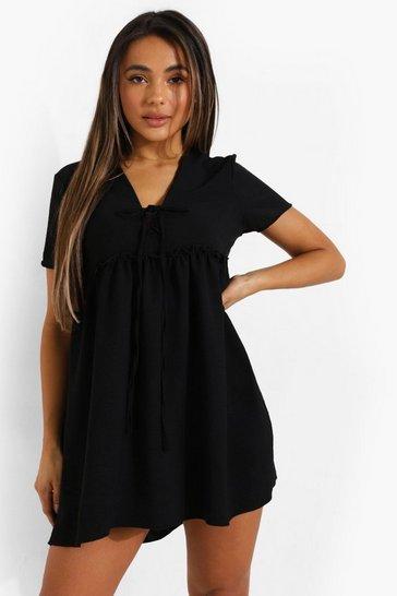Black Petite Linen Look Mini Smock Dress