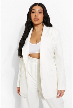Plus Premium Tailored Dart Detail Blazer, Ecru blanco