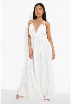 White Petite Linen Look Tiered Maxi Dress