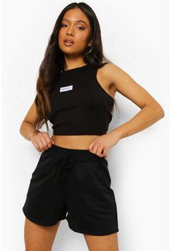 Black Petite Tie Detail Sweat Shorts