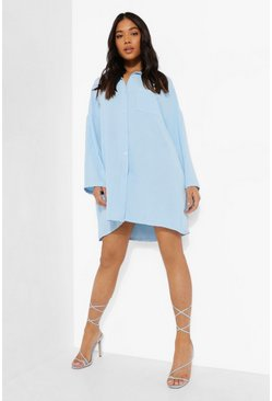 Light blue blue Petite Linen Look Mini Shirt Dress