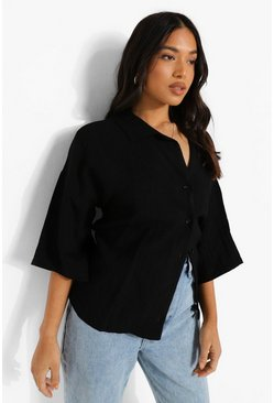 Black Petite Linen Look Resort Shirt