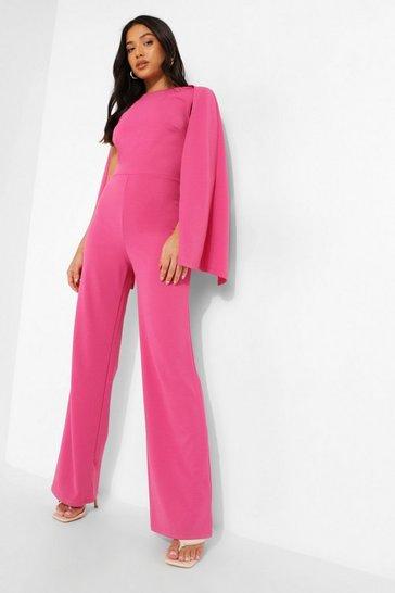 Cerise pink Petite Cape Sleeve Jumpsuit