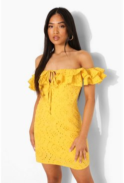 Mustard yellow Petite Broderie Bardot Mini Dress