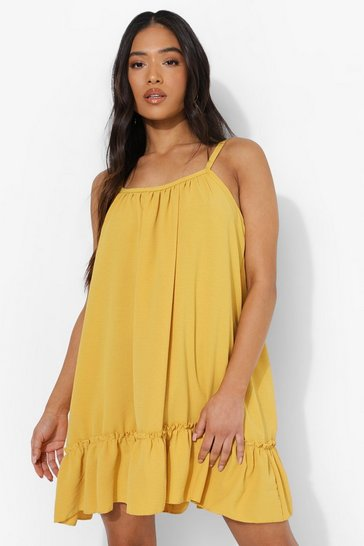 Mustard yellow Petite Linen Look Cami Swing Dress