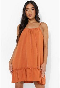 Orange Petite Linen Look Cami Swing Dress