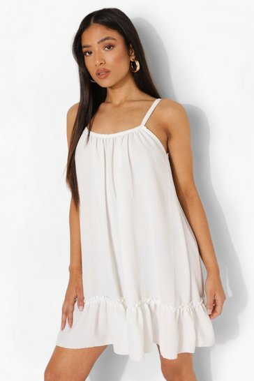 White Petite Linen Look Cami Swing Dress