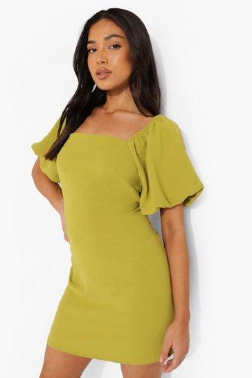 Green Petite Linen Look Puff Sleeve Mini Dress