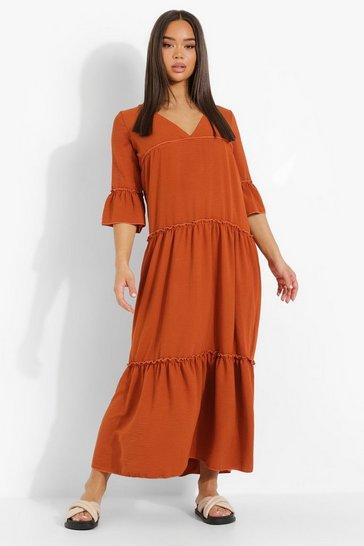 Terracotta orange Petite Linen Look Tiered Maxi Dress
