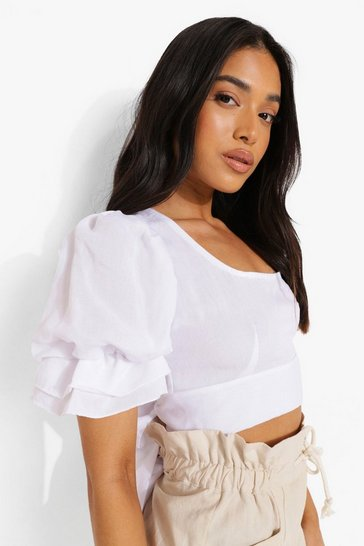 White Petite Linen Look Tie Back Puff Sleeve Top