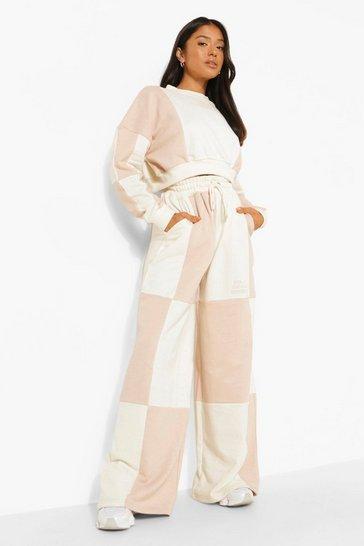 Cream white Petite Colour Block Cropped Sweatshirt