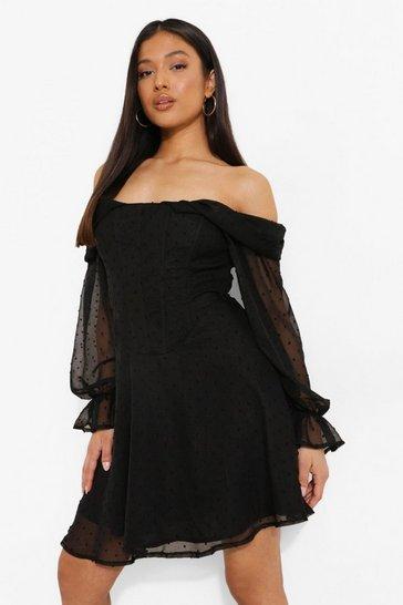 Black Petite Dobby Corset Bardot Mini Dress