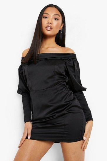 Black Petite Satin Corset Bardot Dress