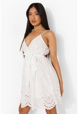 White Petite Broderie Tie Waist Mini Dress