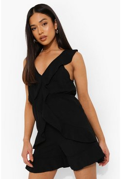 Petite Linen Look Frill Detail Playsuit, Black negro