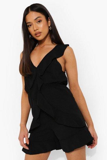 Black Petite Linen Look Frill Detail Playsuit