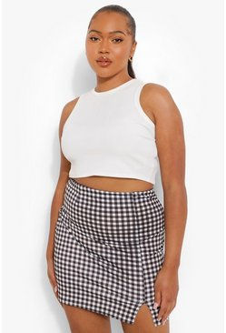Black Plus Gingham Split Mini Skirt