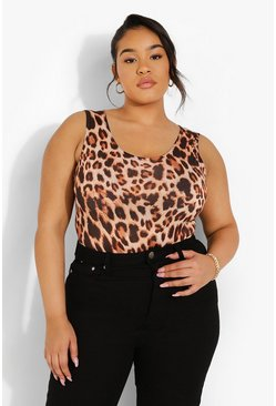 Brown Plus Leopard Scoop Neck Bodysuit