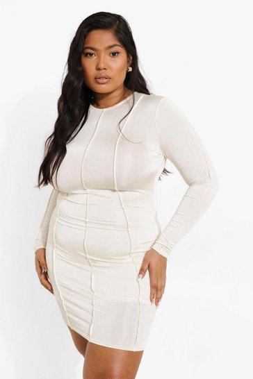 Cream white Plus Recycled Exposed Seam Dress