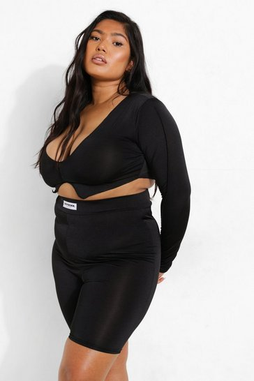 Black Plus Recycled Exposed Seam V Neck Crop Top