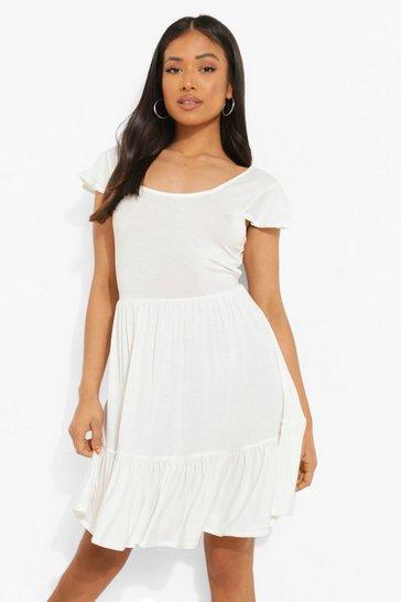 White Petite Tie Back Square Neck Smock Dress