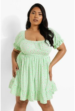 Pale green green Plus Ditsy Floral Puff Sleeve Dress