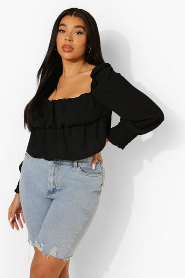 Black Plus Linen Ruched Balloon Sleeve Smock Top