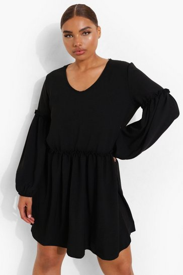 Black Plus Linen Ruffle Balloon Sleeve Smock Dress