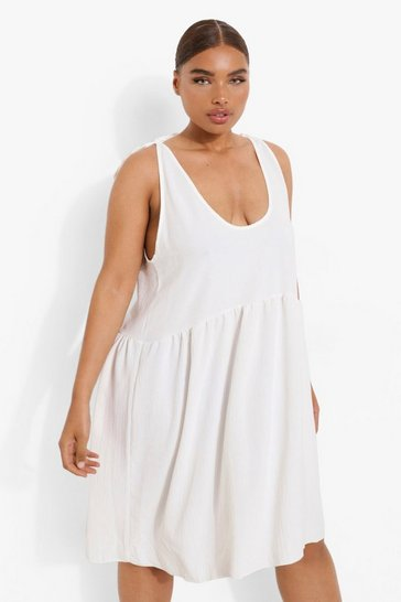 White Plus Linen Strappy Tie Shoulder Smock Dress