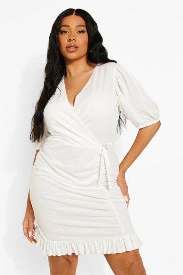 White Plus Ruched Skirt Wrap Mini Dress
