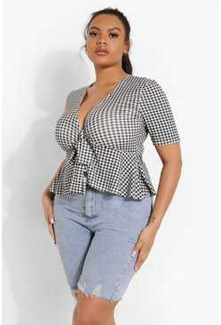 Black Plus Gingham Frill Hem Tie Front Top