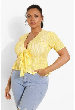 Yellow Plus Gingham Frill Hem Tie Front Top