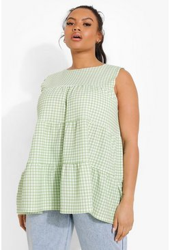 Green Plus Gingham Tiered Detail Smock Top