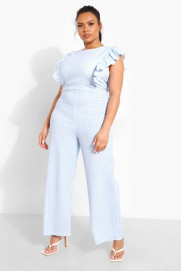 Blue Plus Gingham Frill Sleeve Jumpsuit