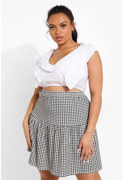 Black Plus Gingham Mini Skater Skirt