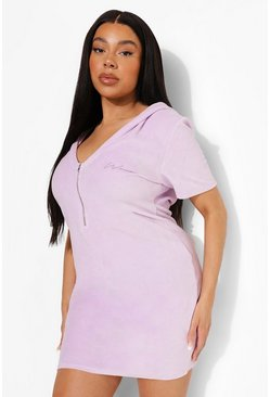 Lilac purple Plus Embroidered Hooded Mini Dress